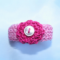 Knitted Cotton Cord Child's Bracelet with Crocheted Flower Decoration
