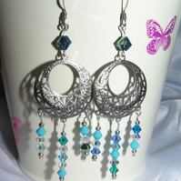Antique Silver Chandelier Earrings with Swarovski Crystal Beads Shades of Blue