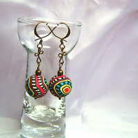 Clay Abstract-Design Earrings