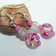 Pink & Clear Earrings with Upcycled Patterned Beads
