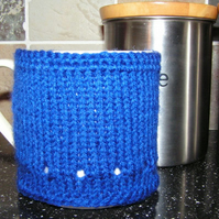 Hand Knitted Royal Blue Mug Warmer
