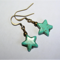 Festival Boho Turquoise Howlite Star Earrings