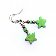 Festival Boho Green Howlite Star Earrings