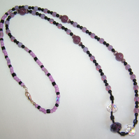 Long Purple and Black Beaded Necklace