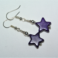 Purple Howlite Star Bead Earrings