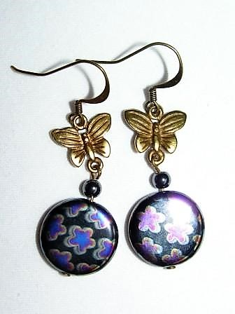 Earrings with Gold Butterflies & Black Patterned Glass Beads