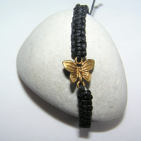 Black Woven Adjustable Bracelet with Gold-coloured Butterfly