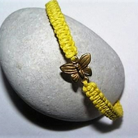 Yellow Woven Adjustable Bracelet with Gold-coloured Butterfly