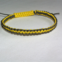 Yellow & Grey Woven Cotton Cord Bracelet