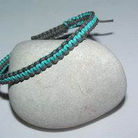 Turquoise & Grey Woven Cotton Cord Bracelet