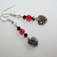 Earrings with Swarovski Crystal Red & Black Beads and Hearts