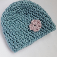 Child's Crocheted Hat with Flower in Aqua Blue Green and Pink age 0 - 6 months