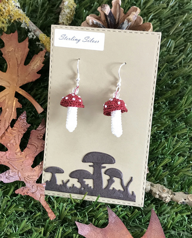 Mini Crocheted Mushroom Earrings with Crystal bead, Sterling Silver Wires