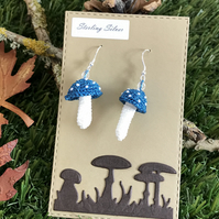 Mini Crocheted Sparkly Mushroom Earrings on Sterling Silver