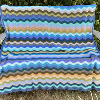 "Coast Ripple Blanket - Hand Crocheted, 48"" x 80"""