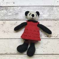 Poppy the Panda, Hand knitted bear with Red Dress
