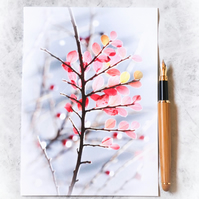 Greetings card featuring photo of cotoneaster