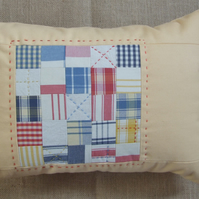Yellow Cushion, Cotton Canvas, 50cm x 35cm with patchwork insert