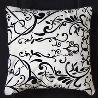 'Flock' Black & White Cushion Cover, Lined, Black Piped Trim, Button Fastening