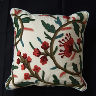 Lined Crewel Work Cushion Cover, Mint Trimmed Edge and Back Button Fastening