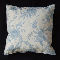 Blue and Cream Floral Lined Cushion Cover, two button fastening, selvedge trim
