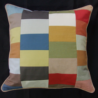 Patchwork Cushion Cover, 45cm x 45cm, Lined, with Beige Piped Trim and Back Zip