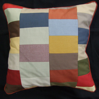Patchwork Cushion Cover, 45cm x 45cm, Lined, with Brown Piped Trim and Back Zip
