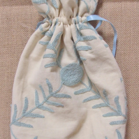 Blue Crewelwork Drawstring Bag