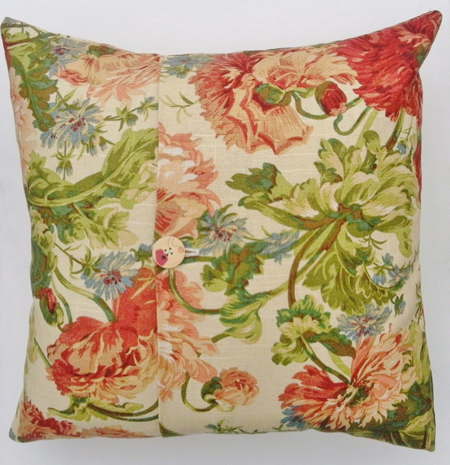 Floral Cushion Cover, Floral Canvas, One Button Fastening, Envelope Opening
