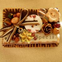 Unusual and eclectic handmade brooch