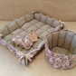 Set of two: handmade double-sided pet bed-mattress and a basket for toys