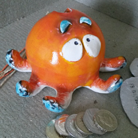 Octopus pottery money box
