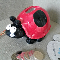 Ladybird pottery money box
