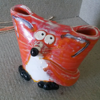 Fox pottery pencil or brush holder