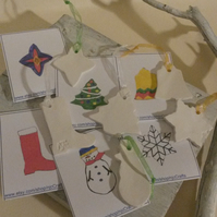 Paint your own ceramic Christmas tree decorations