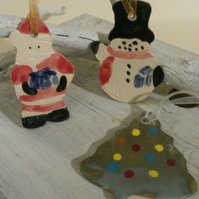 Christmas tree decoration Santa or Snowman double-sided ceramic hand-crafted