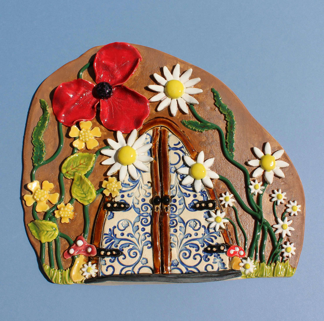 Fairy door - large handmade wild flower ceramic fairy door