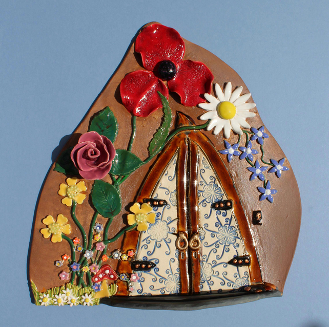 Fairy door - large handmade ceramic cottage garden fairy door