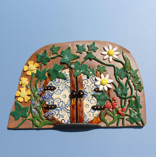 Fairy door - large handmade ceramic amongst the ivy fairy door