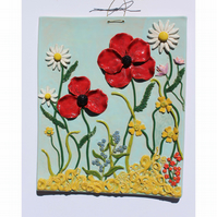 Handmade ceramic wildflower meadow picture