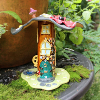 Fairy house - handmade poppy & flowers ceramic fairy house