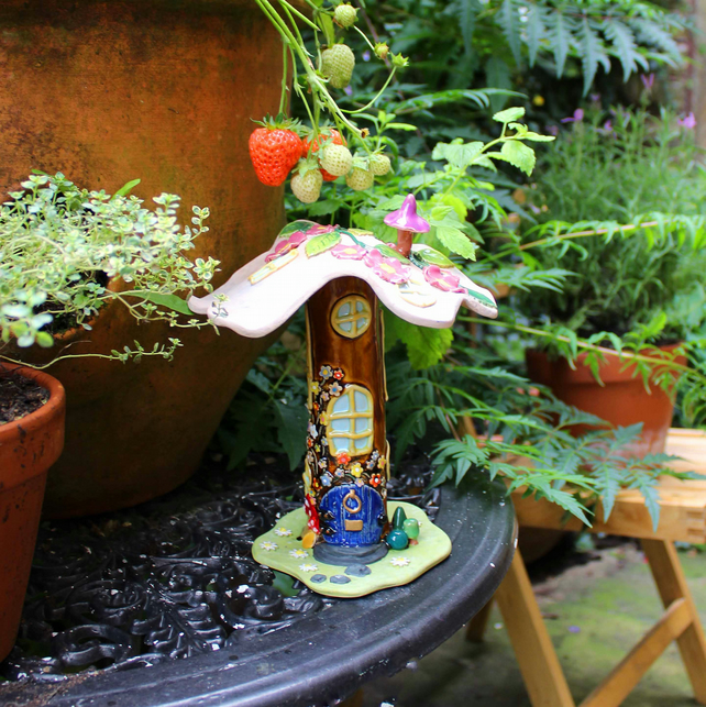 Fairy house - handmade wild rose & flowers ceramic fairy house