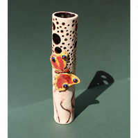 Butterfly vase – handmade tall slim ceramic butterfly vase