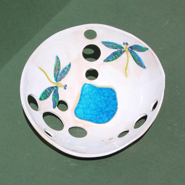 Dragonfly bowl – beautiful and bright handmade ceramic dragonfly bowl