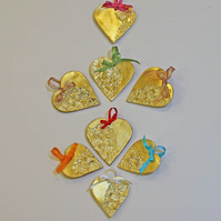 Handmade ceramic and gold leaf hanging heart decoration