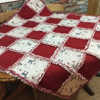 100% cotton flannel patchwork rag quilt; winter theme contrasted with red