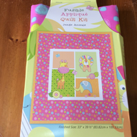 "Patchwork Quilt Kit, Crib Cot Size, Finished size 33 x 39"", Jungle Animal Design"