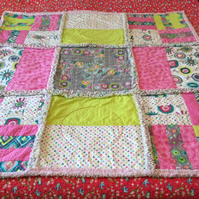 100% cotton patchwork rag quilt in bright spring colours
