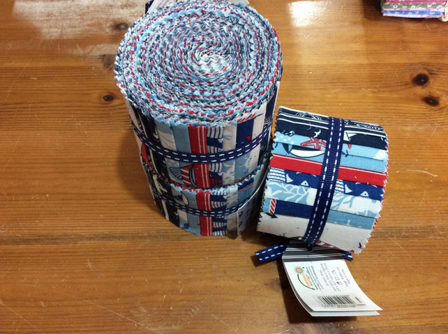 "100% cotton jelly roll, 20 x 2.4"" wide strips, nautical design"