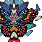 Rainbow butterflies and wings hand drawn illustrations art print - A3